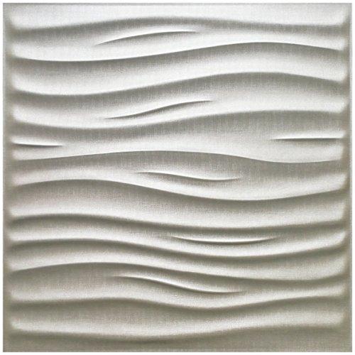 Art3d Decorative 3D Leather Tiles Wavy 3D Wall Panels, White, 24