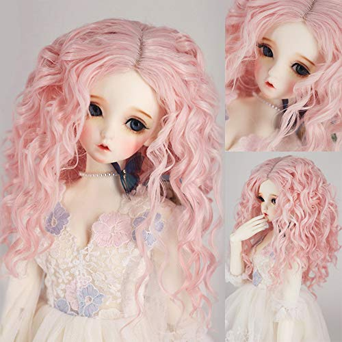9-10 Inch BJD SD Doll Wig 1/3 bjd Pink Color Long Deep Spiral Curly Doll Wig Doll Hair SD BJD Doll Wig