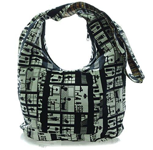 Windows Bohemian Crossbody Avarada Hobo Black Cotton Messenger Bag Hippie Purse Medium White Sling x8qRSwv8