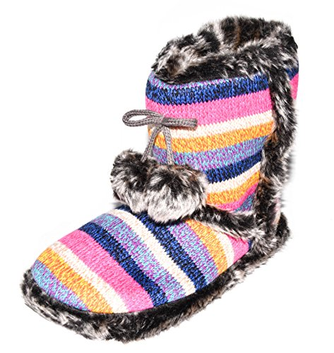 BTS - Zapatillas de estar por casa de tela para mujer Pink/ Blau