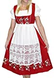 Dirndl Trachten Haus 3-Piece Long German Wear Party Oktoberfest Waitress Dress 14 44 Red