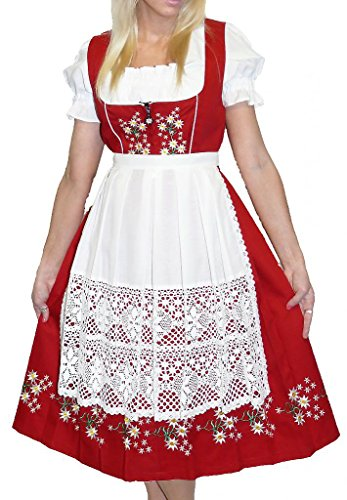 Dirndl Trachten Haus 3-Piece Long German Wear Party Oktoberfest Waitress Dress 20 50 Red ()