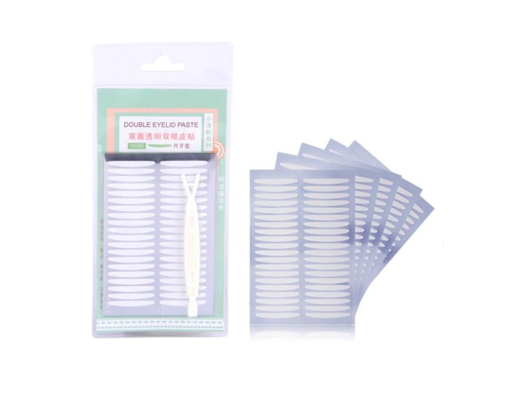 100Pairs(200PCS)Moon Shaped Natural Invisible Double Sided Eyelid Tape Strips Sticker with Plastic Y Fork-Self-Adhesive Double Eyelid Stickers Instant Eye Lift Strips Elandy