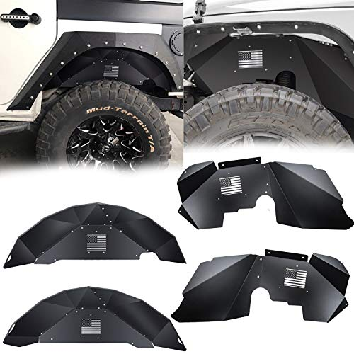 Danti for Jeep Wrangler Front and Rear Inner Fender Liners fit 2007-2018 2 Door & 4 Door Jeep Wrangler JK 4WD US Flag Logo Lightweight Aluminum Design Black