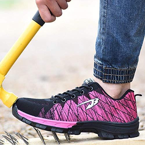 Lavoro Rosa Punta LILY999 Uomo Sportive Sicurezza di in Donna con Acciaio Scarpe Scarpe Leggere Scarpe da Antinfortunistiche xUSIUaqw