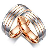 Fashion Month Parallel Lines Wedding Rings Band for Women Men Rose Gold-Color CZ Stone Promise Band 1 Piece for Men 11