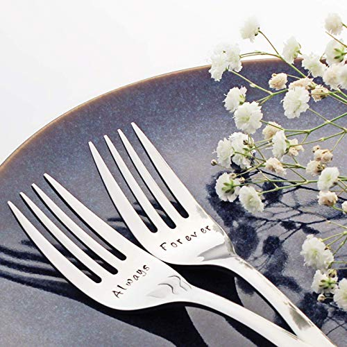 - Always/Forever - Fancy Handled Stainless Steel Stamped Fork Set, Stamped Wedding Silverware for Wedding Cake | Valentine Gift