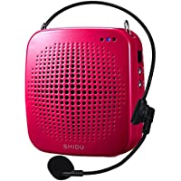 Zoweetek SHIDU S511 15 Watts Portable Mini Voice Amplifier With Wired Microphone, Rechargeable Speaker with Waistband for Teachers, Tour Guides, Coacher, Singer, Training, Speech, Presentation (Red)