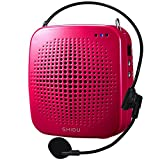 Zoweetek 15W Rechargeable Portable Voice Amplifier Wired Microphone Headset Waistband, Supports MP3 Format Audio Playing Teachers, Tour Guide, Coaches, Training, Presentation (S511-Red)