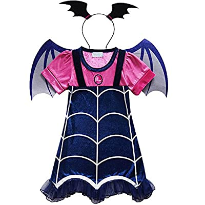KUFV Vampirina Cartoon Deisign Half Sleeves Costumes Dress For Party Celebration: Clothing