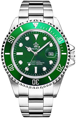 Gosasa 2016 New Fashion Quartz Watch Men Stainless Steel Dress Watch with Green Dial Water Proof ()