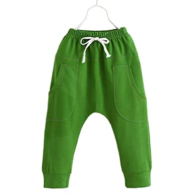 cd0d2633ecb9 JIANLANPTT Summer Candy Solid Color Children Pants Boys Baby Trousers Girls  Harem Pants Green 90(