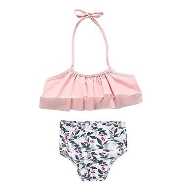 5e247ce108 Amazon.com: TiTCool Toddler Kids Baby Girls Swimsuit Two Pieces Bikini Set  Ruffle Falbala Bathing Suits Swimwear: Clothing