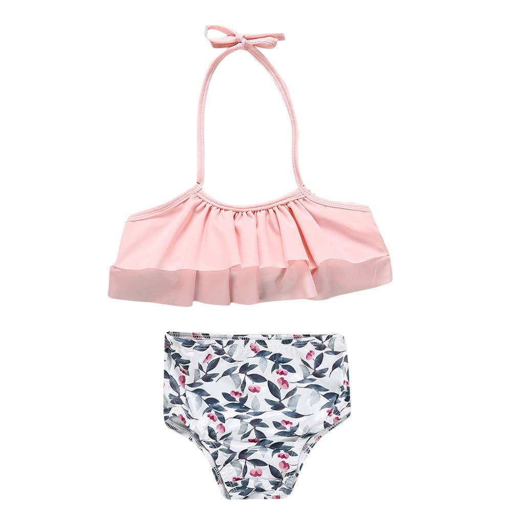 Nevera Kids Baby Girls Swimsuit Ruffle Top and Bikinis 2 Piece Swimwear Tankini Outfit Pink