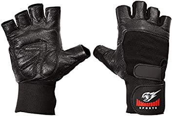 Met-X Leather Rubber Padded Pro Gloves With Straps Gym Fitness Wrist Support BLK
