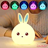 ixaer Rabbit LED Night Light Multicolor Silicone Touch Sensor For Children Bedside Lamp Control Bunny Nightlight, Creative Rabbit Pat Lamp Dream Bedroom Bedside Table Lamp. (Blue) For Sale