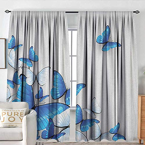 Petpany Blackout Curtains Butterflies,Blue and White Butterflies on Wooden Background Timber Wall Rustic Life, Silver Blue White,for Bedroom,Nursery,Living Room 54