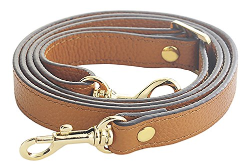 SeptCity Top Quality Grain Leather Adjustable Shoulder Straps -1.8 CM Width(20 Color)(Brown) (Quality Brown Leather)