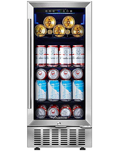 Beverage Cooler 15 Inch by Aobosi, 94 Cans Beverage Refrigerator Built-in with Compressor Cooling System, Adjustable Shelves, Quiet Operation - Fashion Beverage Fridge for Beer, Soda, Water or Wine