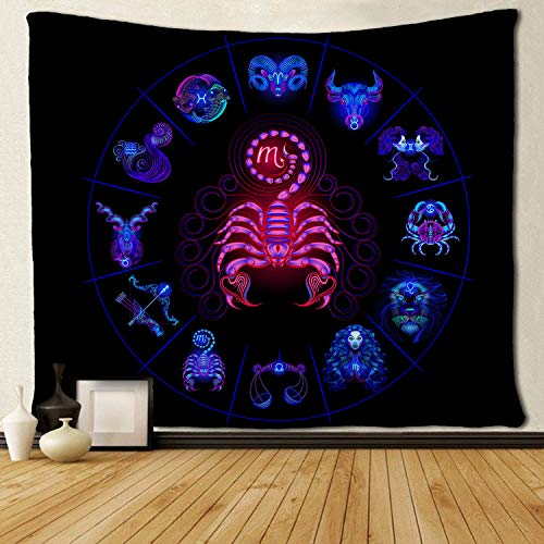 SARA NELL Tapestry Scorpio Tapestries Hippie Art Wall Hanging Throw Tablecloth 50X60 Inches for Bedroom Living Room Dorm Room