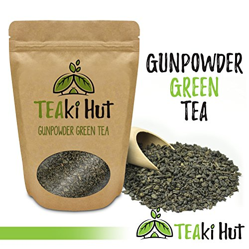 TEAki Hut Gunpowder Green Tea 2 Ounce (60 Servings) | Organic Loose Leaf Tea | Hand-Rolled, Fair-Trade, Young and Tender Leaves | Deeply Renewing Energy Boost Any Time of Day (Fair Trade Organic Green Tea)