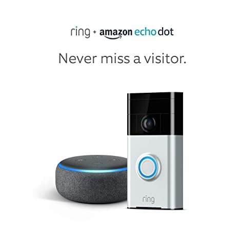 Ring Wi-Fi Enabled Video Doorbell in Satin Nickel with Echo Dot 3rd Gen (Charcoal Gray)