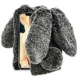 Aearl iPhone XR Case,iPhone XR Rabbit Fur Ball Case,Luxury Cute 3D Homemade Diamond Winter Warm Soft Furry Fluffy Fuzzy Bunny Ear Plush Back Phone Cover for Girls Women-Black(iPhone XR 6.1 inch 2018)