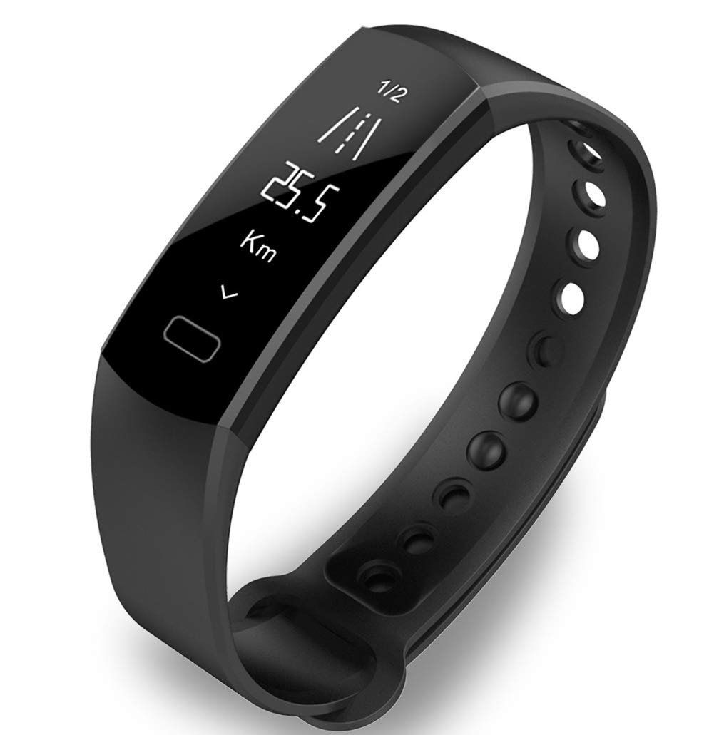 HHRONG 0.91 Inch Color Smart Bracelet with Heart Rate Monitor Waterproof Ip67 Pedometer, Men and Women Compatible with Android iOS-Black by HHRONG