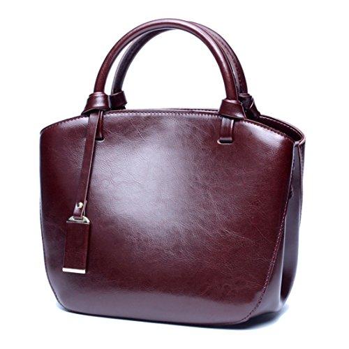 SAIERLONG Ladies Designer Womens Red wine Genuine Leather Handbags Tote Shoulder Bags