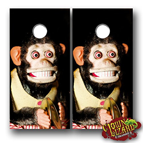 CL0068 Cymbal Monkey CORNHOLE LAMINATED DECAL WRAP SET Decals Board Boards Vinyl Sticker Stickers Bean Bag Game Wraps Vinyl Graphic Image Corn Hole Funny Parody Creepy ()