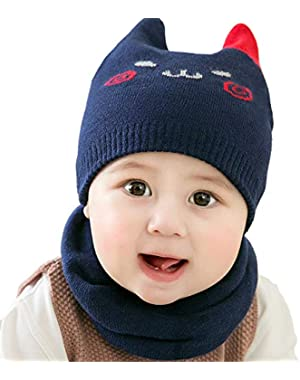 Cute Baby Comfortable Smile Knit Hat and Scarf Set Unisex Infant Toddler 6-24 Months
