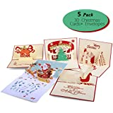 3D Christmas Cards Pop Up Greeting Holiday Cards Gifts Handmade 5 Pack Cards & Envelopes