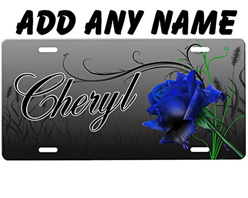 onestopairbrushshop Blue Rose License Plate Blue Airbrushed License Plates