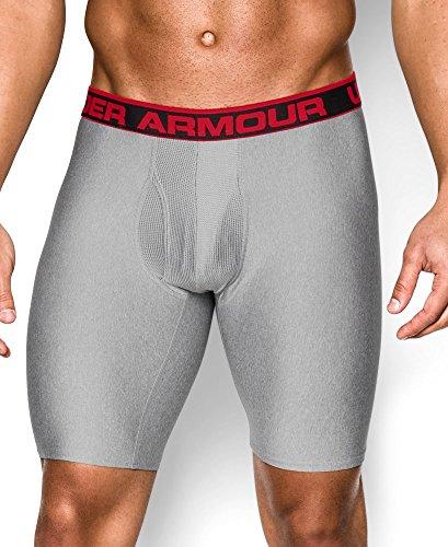 Under Armour Men's Original 9-Inch Boxerjock Boxer Briefs, True Grey Heather/Red, Large