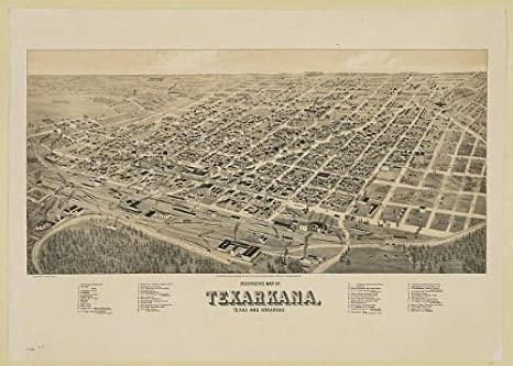 Amazon.com: Photo: Perspective map of Texarkana, Texas ...