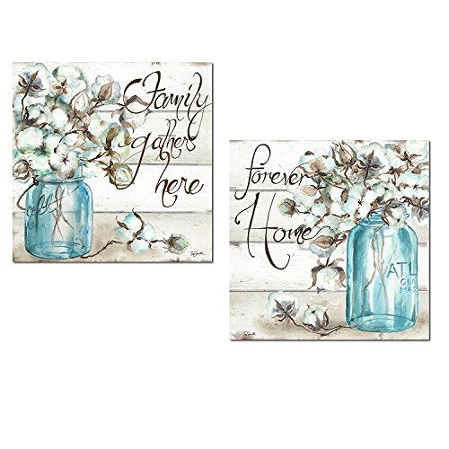 Jar Decor (Beautiful Watercolor-Style Family Gathers Here and Forever Home Mason Jar Floral Set by TRE Sorelle Studios; Two 12x12in Unframed Paper Posters. Teal/Brown)
