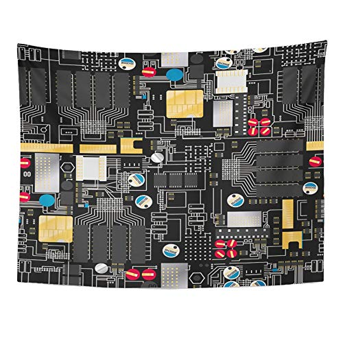 Emvency Tapestry Artwork Wall Hanging Silver ASCII Circuit Board with Components and Wires Electricity Gold Black 60x80 Inches Tapestries Mattress Tablecloth Curtain Home Decor Print