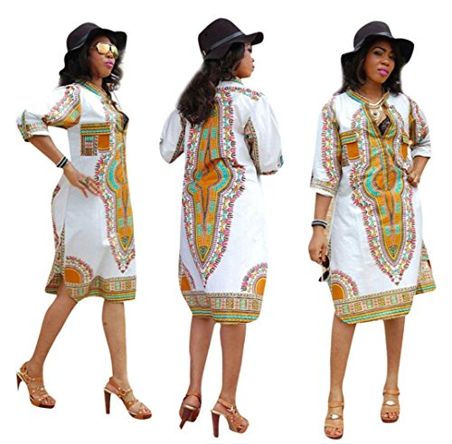 AMA(TM) Women V-Neck Ethnic Style Traditional African Print Maxi Party Dress (XXX-Large, White)