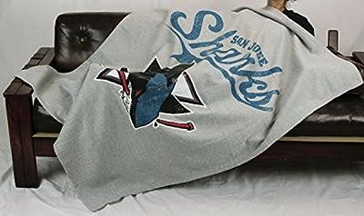 San Jose Sharks NHL Sweatshirt Throw Blanket, Grey
