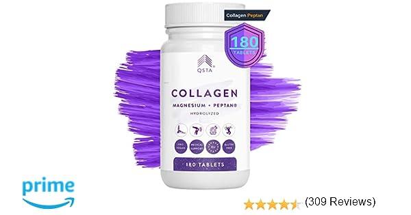 Colageno con Magnesio + Acido Hialuronico + Vitamina C + Vitamina D3 180 Comprimidos, Hidrolizado PEPTAN, Articulaciones, Huesos, Piel, Cabello y ...