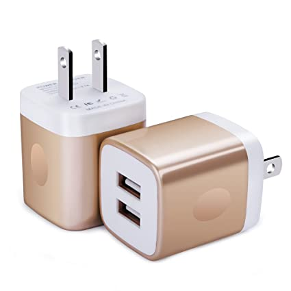 Wall Charger, FiveBox 2-Pack Dual Port USB Wall Charger Brick Plug Charger  Box Charging Base 2 1A Charging Block Phone Charger Cube for iPhone