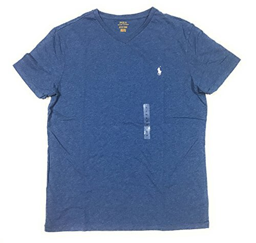 Polo Ralph Lauren Men's Classic Fit Solid Crewneck T-Shirt (Large, BLUE/White - Solid Tee Crew Neck