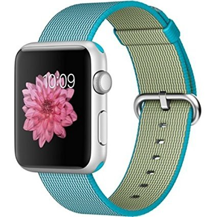 Apple Watch Sport 42mm Silver Aluminum Smartwatch - Scuba Blue Woven Nylon Band by Apple