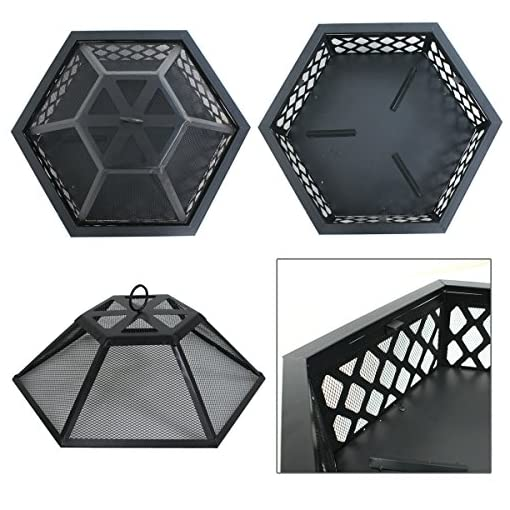 Fire Pits F2C Hex-Shaped Fire Pit for Garden 24 Inch Wood Burning Bonfire Firebowl Outdoor Portable Steel Firepit with Flame… firepits