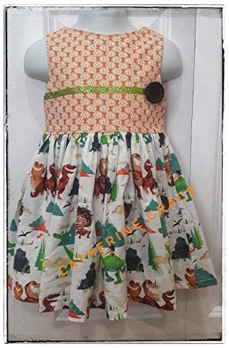 Girls caveman dress, girls dinosaur dress, prehistoric dress, Toddler dress 18-24 months]()