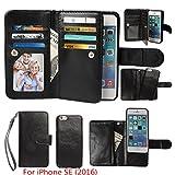 iPhone SE / iPhone 5 5S Wallet Case, xhorizon TM SR Premium Leather Magnetic Detachable Folio Phone Wallet Case with Multiple Card Slots for iPhone SE (2016) / iPhone 5 5S -Black