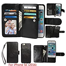 Case for iPhone SE / iPhone 5 5S Wallet, xhorizon TM SR Premium Leather Magnetic Detachable Folio Phone Wallet Case with Multiple Card Slots for iPhone SE (2016) / iPhone 5 5S -Black