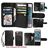 iPhone SE / iPhone 5 5S Wallet Case, xhorizon TM FLK Premium Leather Magnetic Detachable Folio Phone Wallet Case with Multiple Card Slots for iPhone SE (2016) / iPhone 5 5S(Black)