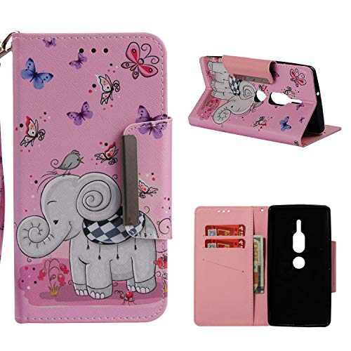 Leather Wallet Case for Sony Xperia XZ2 Premium,Shinyzone Cute Cartoon Butterfly and Elephant Painted Pattern Flip Stand Case,Wristlet & Metal Magnetic Closure Protective Cover by Shinyzone