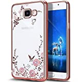 Galaxy A7 2016 Case,ikasus Pink Butterfly Floral Flower Bling Crystal Rhinestone Diamonds Clear Rubber Rose Plating Frame Soft TPU Silicone Protective Bumper Case Cover for Galaxy A7 (2016) A710F